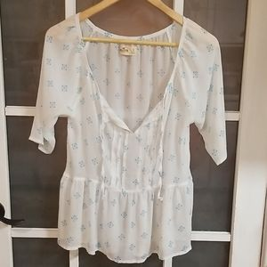 Hollister sheer  pleated tie front blouse top